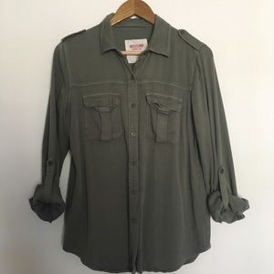 Olive green button up top